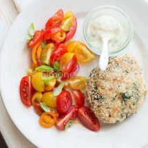 Chicken burger with tomato salad. Whole 30 recipes |insimoneskitchen.com