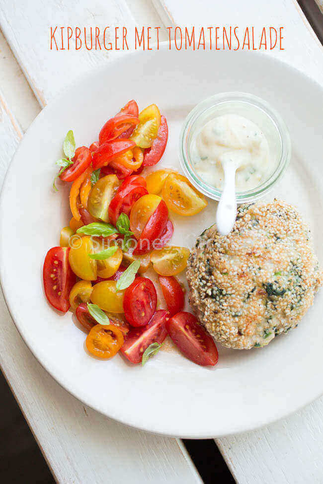 kipburger met tomatensalade | simoneskitchen