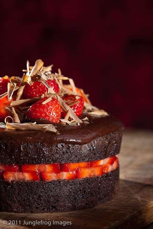 Strawberries On Devils Food Cake