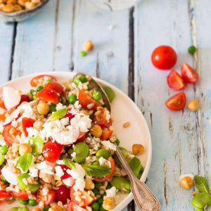broad bean salad with feta and tomatoes