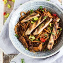 Carribean noodles with chicken and pork | insimonesk.wpengine.com