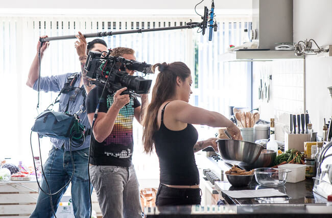 A film crew in my kitchen during the shoot..