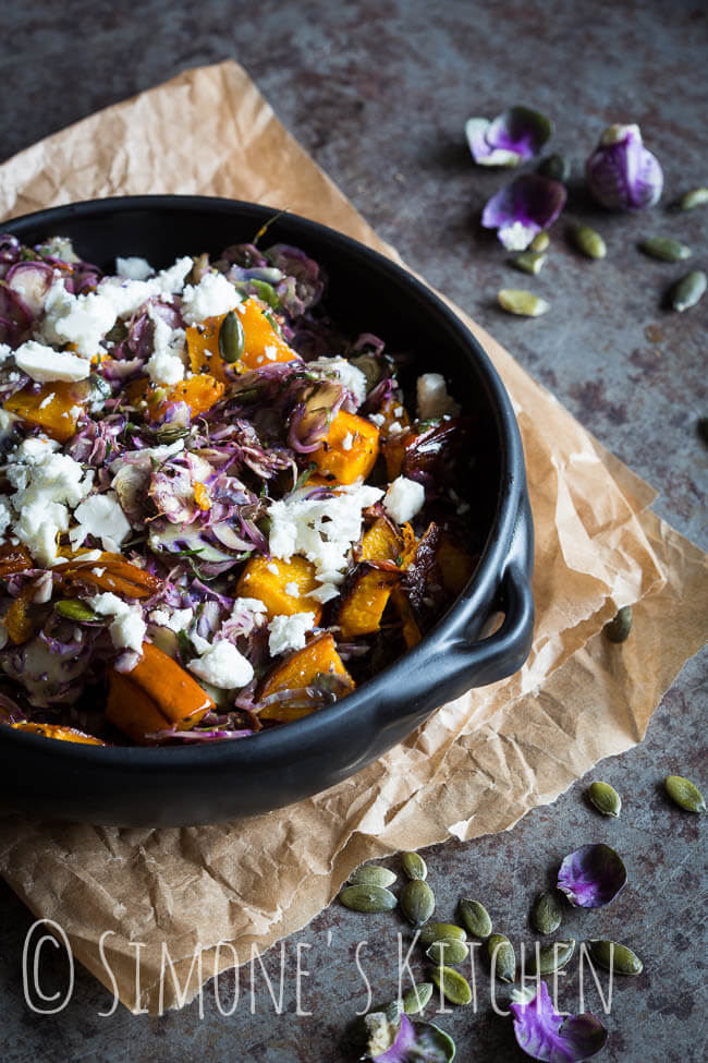 Brussels sprout salad with feta and pumpkin | insimoneskitchen.com