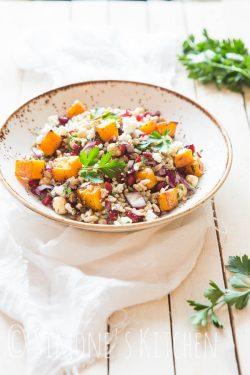 Spelt salad with pomegranate and pumpkin | insimoneskitchen.com