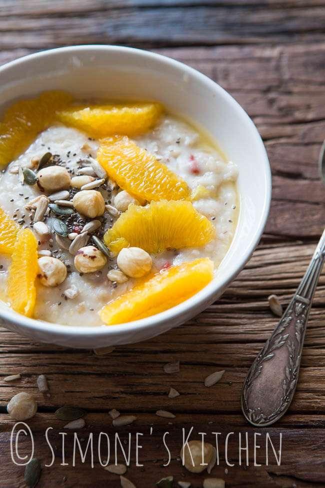 Coconut oatmeal with oranges | insimoneskitchen.com