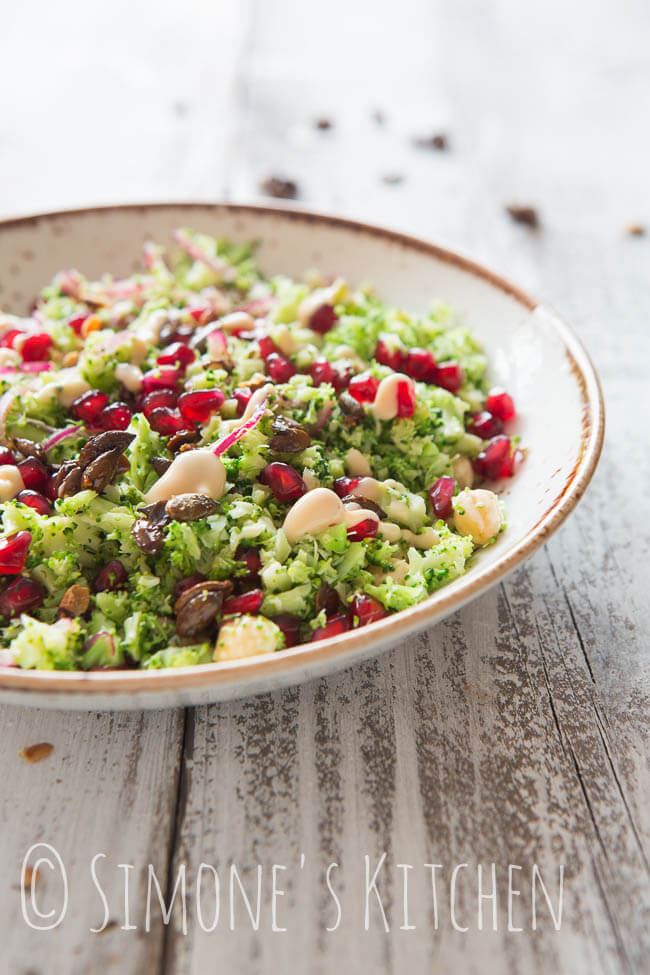 Broccoli salad with pomegranate | insimoneskitchen.com