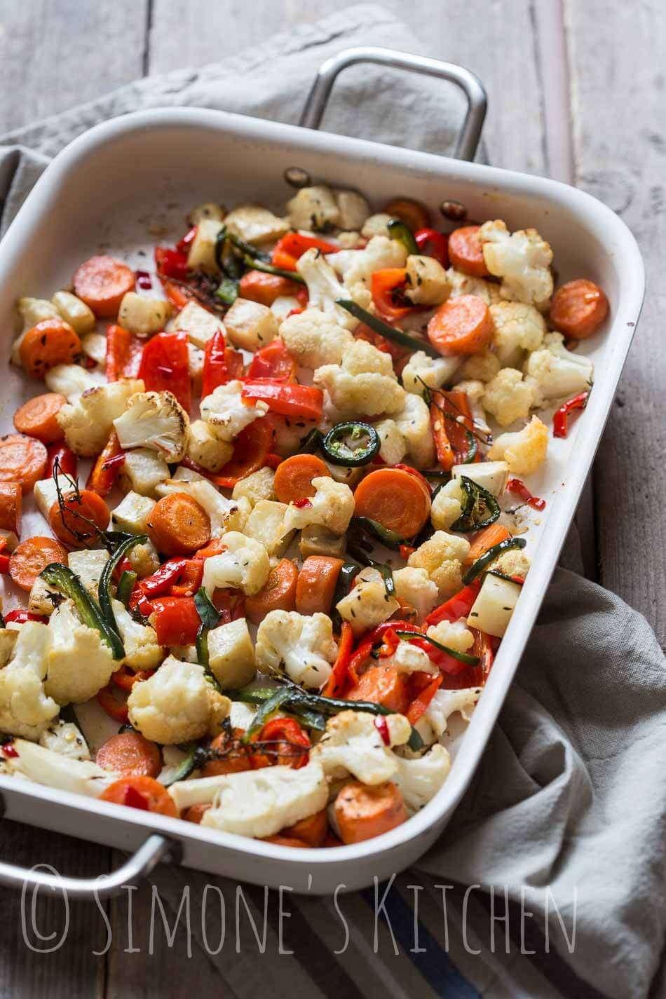 Roasted spicy vegetables   insimoneskitchen.com