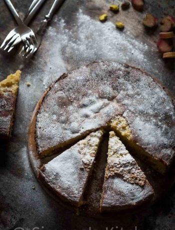 rhubarb pistachio cake with orange | insimoneskitchen.com