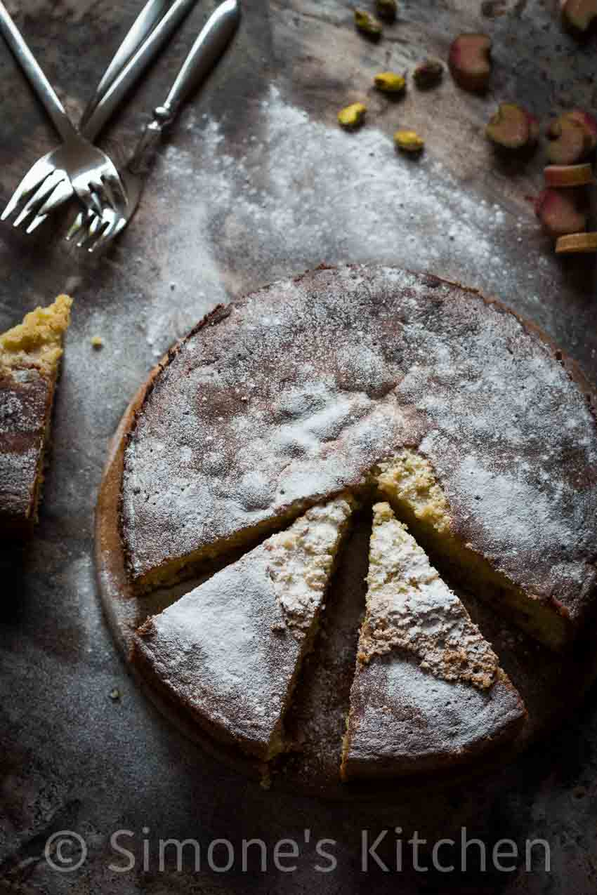 rhubarb pistachio cake with orange | insimoneskitchen.com