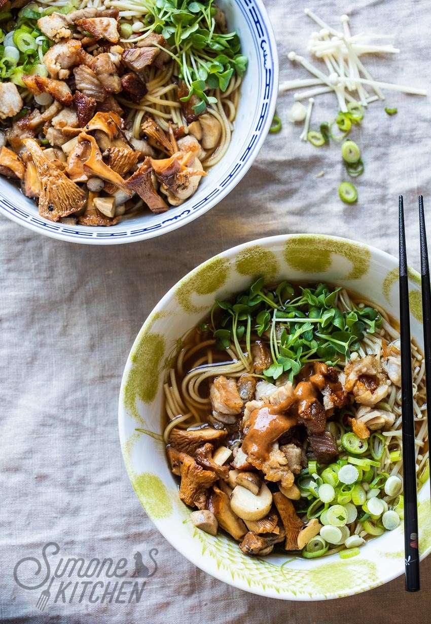 Ramen noodle bowl with mushrooms and pork belly   insimoneskitchen.com