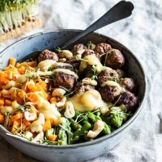 Sweet potato rice with meat balls