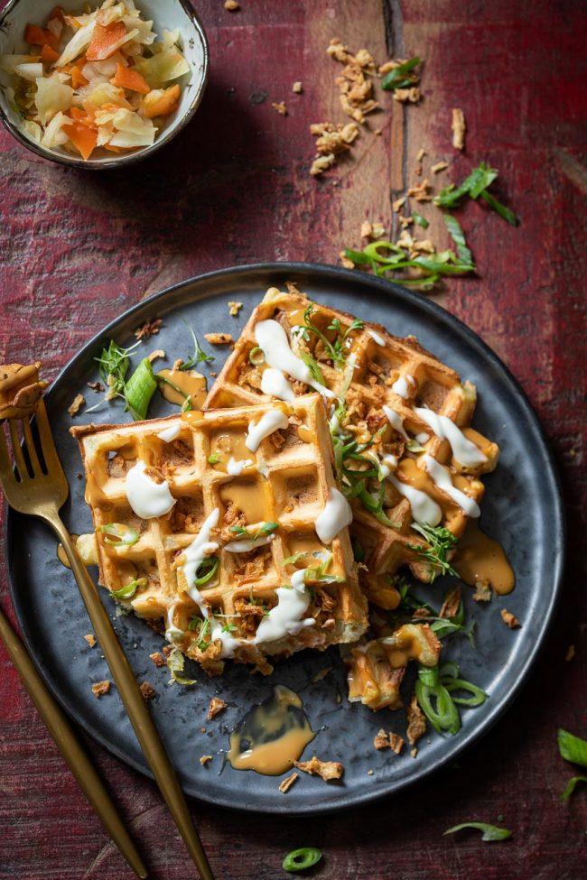 Savory waffles with kimchi