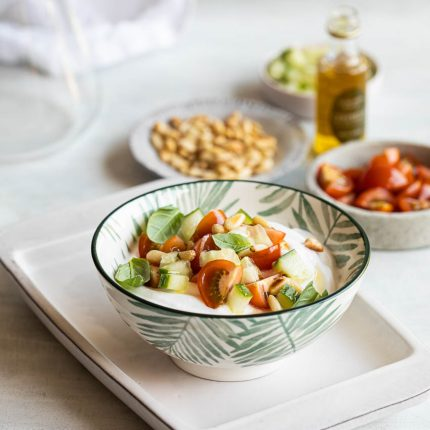 Savory yogurt with tomatoes and cucumber